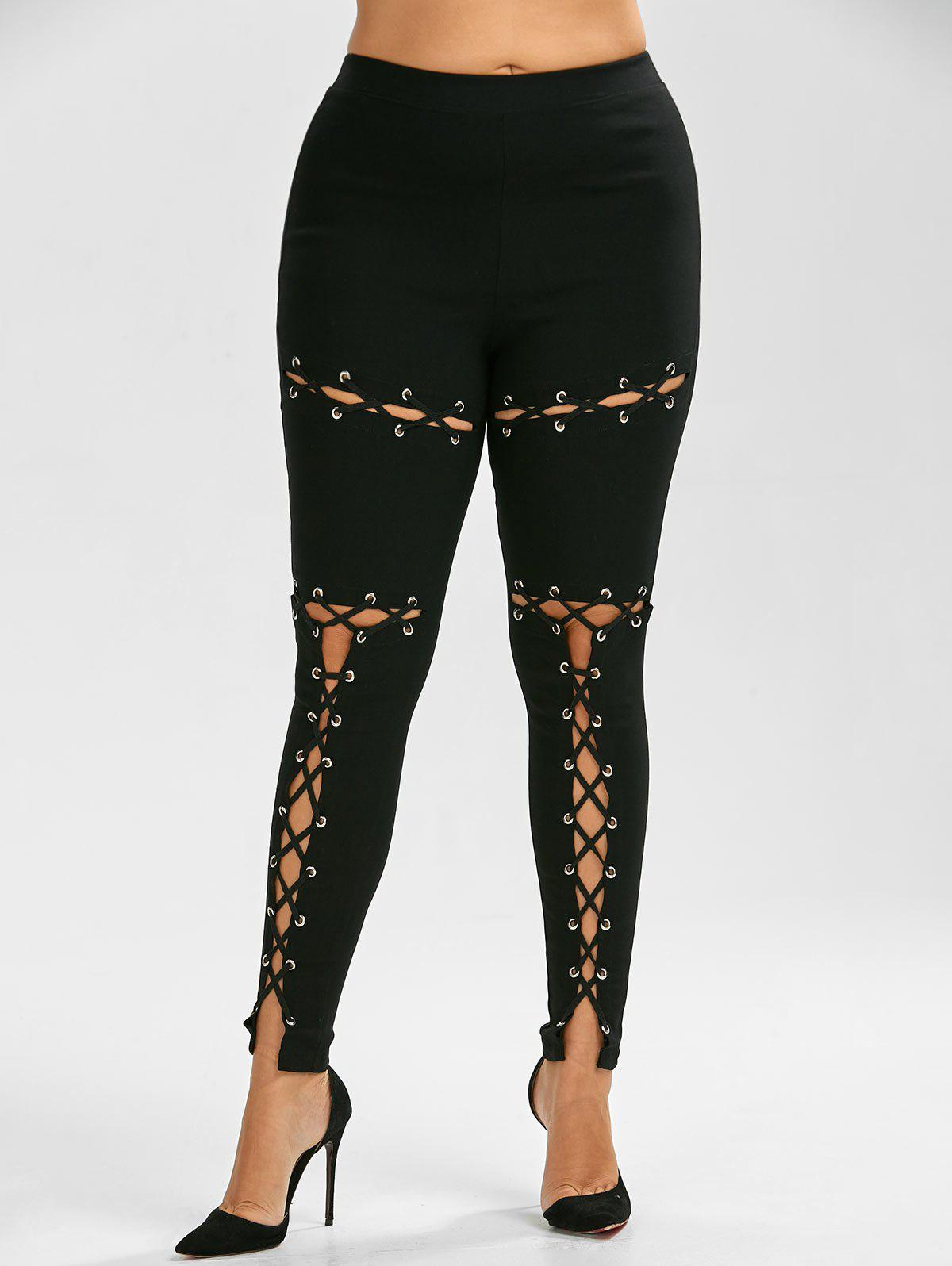 Lace Up Plus Size Skinny High Waisted PantsWOMEN<br><br>Size: 3XL; Color: BLACK; Style: Punk; Length: Normal; Material: Polyester; Fit Type: Skinny; Waist Type: High; Closure Type: Elastic Waist; Pattern Type: Solid; Pant Style: Pencil Pants; With Belt: No; Weight: 0.4500kg; Package Contents: 1 x Pants;