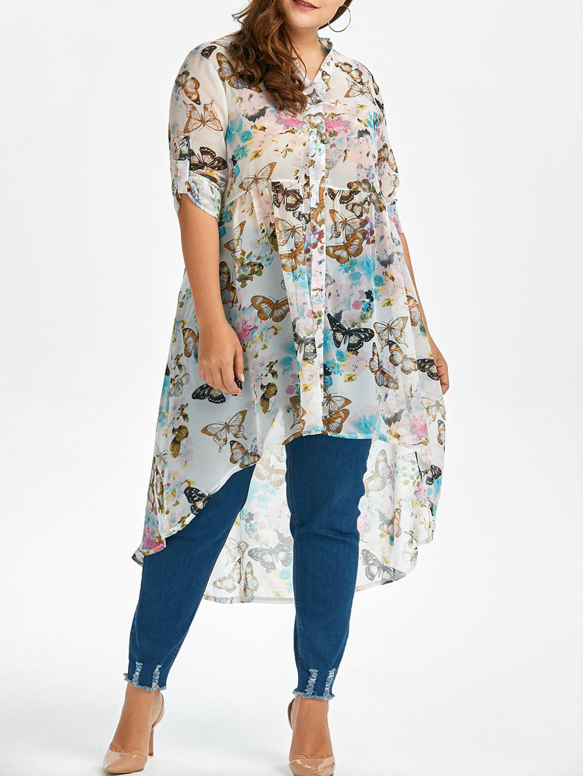 Shops Plus Size High Low Butterfly Print Top