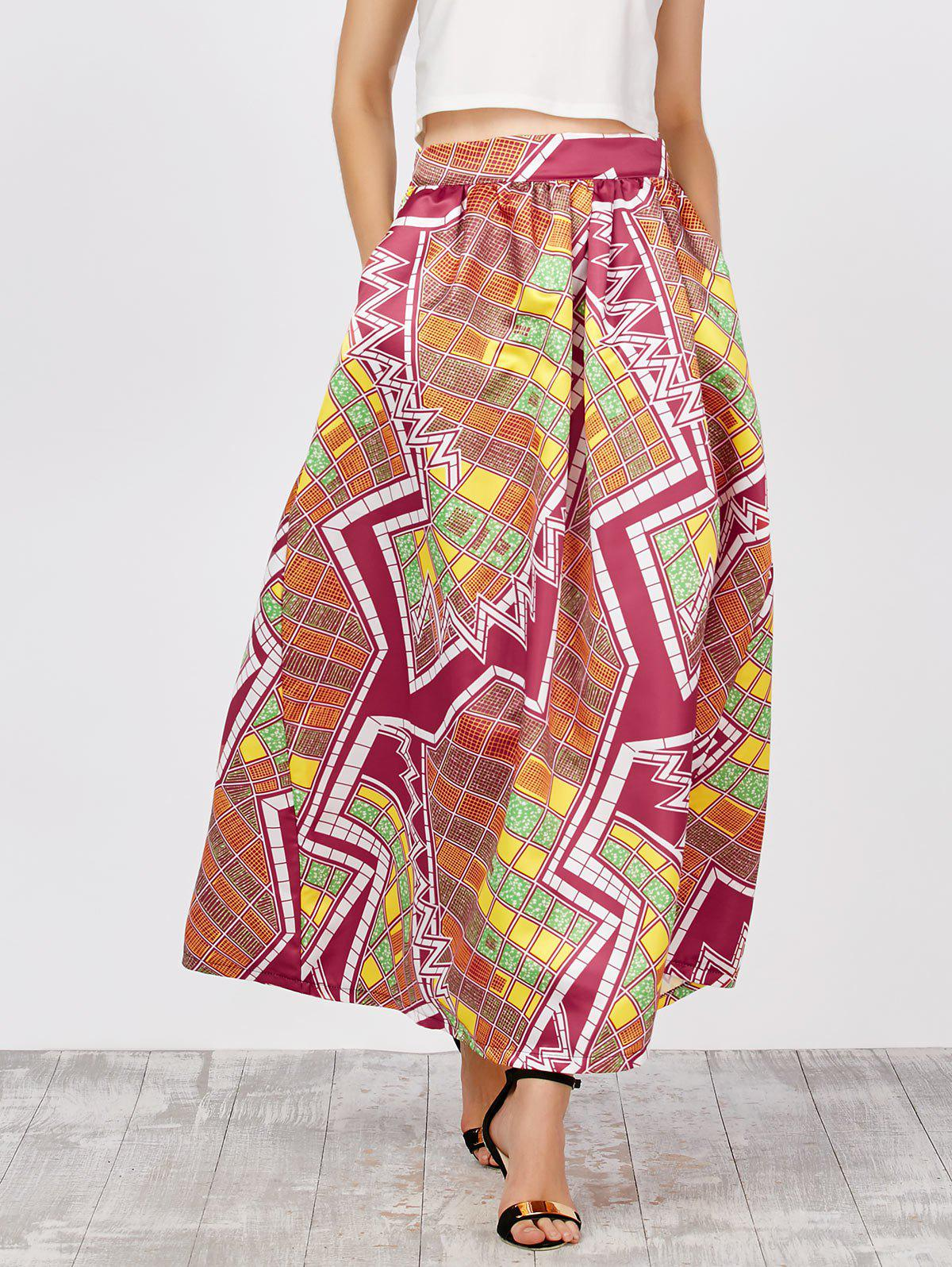 Outfits Printed High Waist African Skirts with Pockets