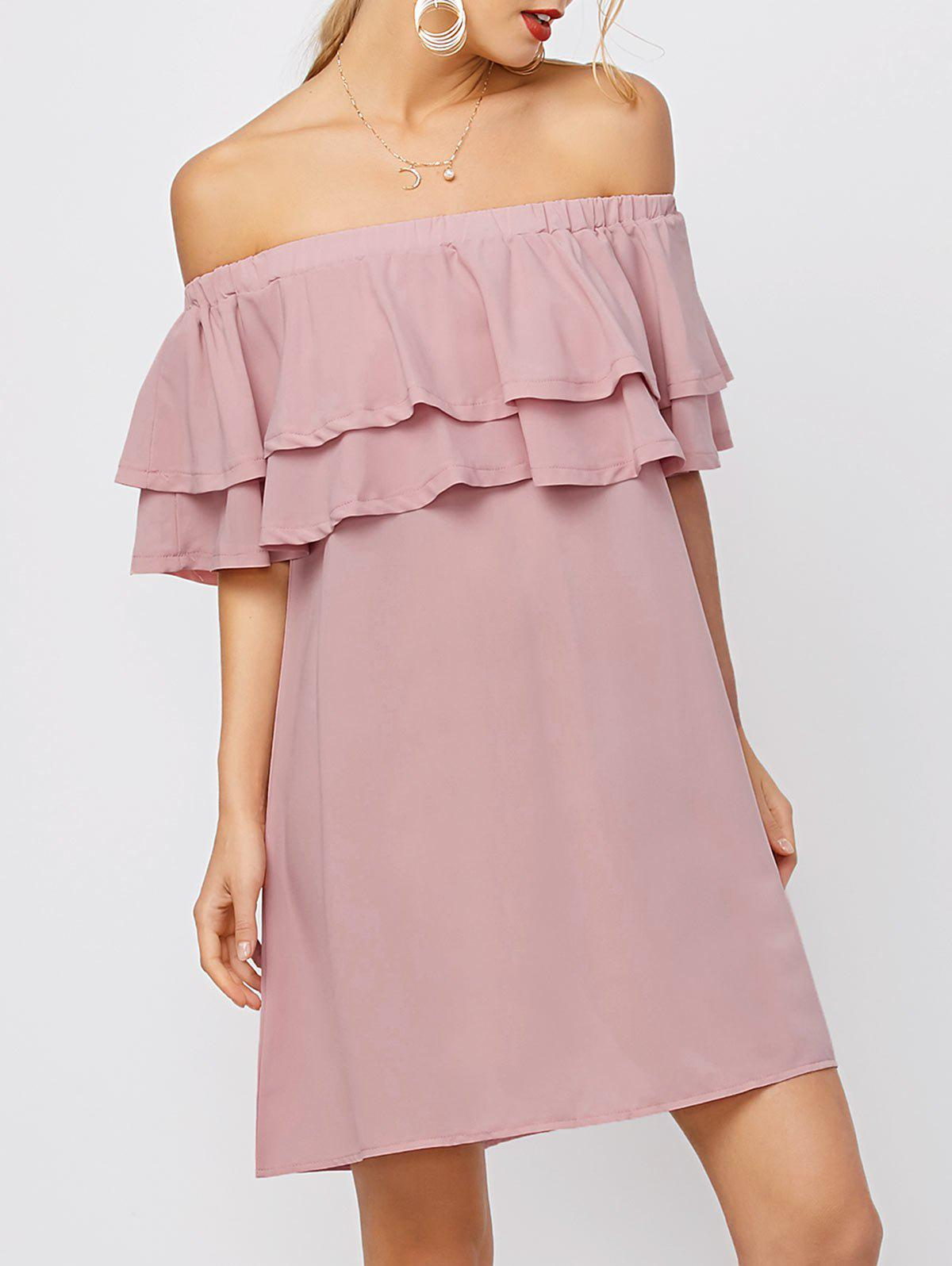 Fancy Flounce Off Shoulder Chiffon Pastel Casual Short Dress with Sleeves