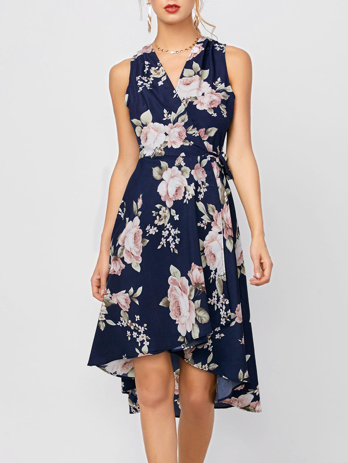 Sleeveless High Low Floral Print Swing Wrap DressWOMEN<br><br>Size: L; Color: DEEP BLUE; Style: Casual; Material: Polyester; Silhouette: High-Low; Dresses Length: Mid-Calf; Neckline: V-Neck; Sleeve Length: Sleeveless; Pattern Type: Floral; With Belt: No; Season: Summer; Weight: 0.2500kg; Package Contents: 1 x Dress;