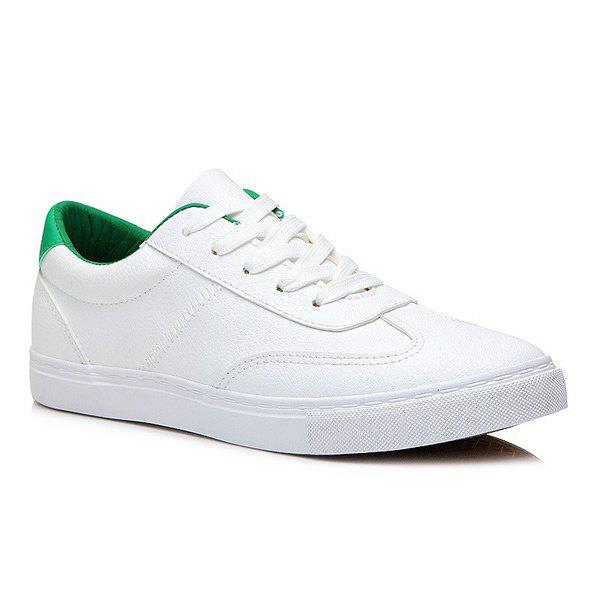 Trendy Colour Block Faux Leather Athletic Shoes
