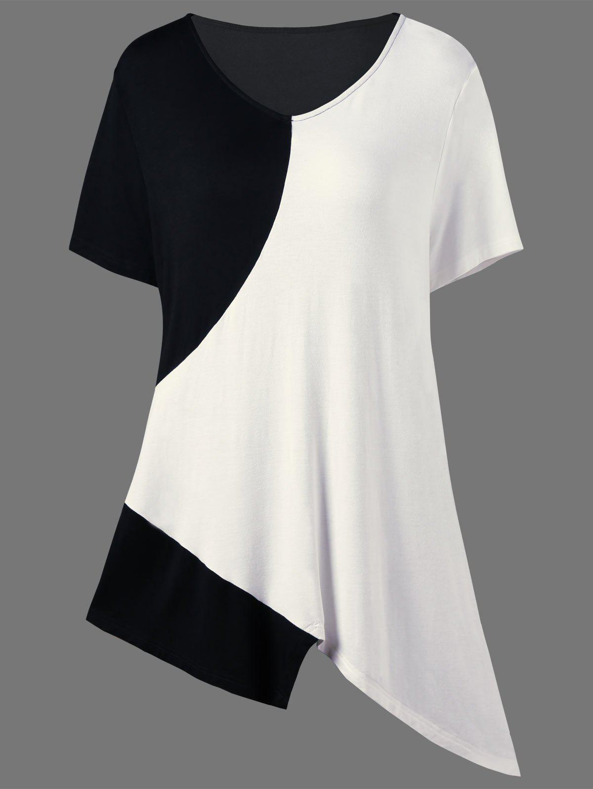 Asymmetrical Color Block Plus Size Long T-ShirtWOMEN<br><br>Size: 3XL; Color: WHITE AND BLACK; Material: Cotton,Spandex; Shirt Length: Long; Sleeve Length: Short; Collar: V-Neck; Style: Casual; Season: Summer; Pattern Type: Others; Weight: 0.2000kg; Package Contents: 1 x T-Shirt;
