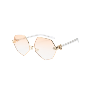 Irregular Geometrical Artificial Pearl Nose Pad Sunglasses - Pearl Light Pink