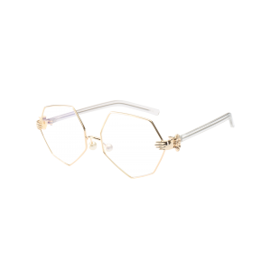 Irregular Geometrical Artificial Pearl Nose Pad Sunglasses - White