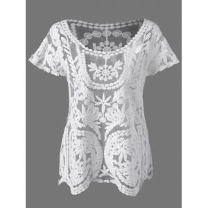 Lace See Through Blouse - White - One Size
