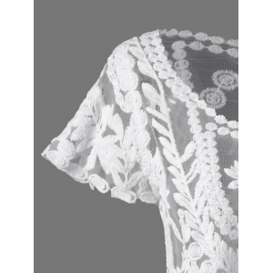 Lace See Through Blouse - WHITE ONE SIZE