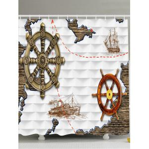 Anchor Ship Printed Waterproof Shower Curtain - White - W71 Inch * L71 Inch