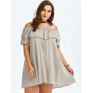 Plus Size Ruffled Off The Shoulder Swing Dress -