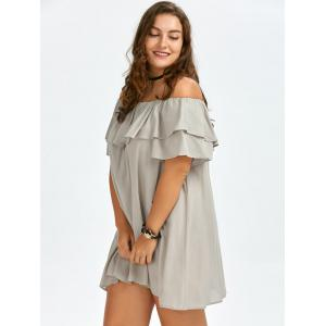 Plus Size Ruffled Off The Shoulder Swing Dress - APRICOT ONE SIZE