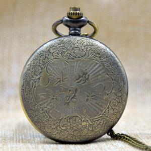 Butterfly Engraved Vintage Quartz Pocket Watch -