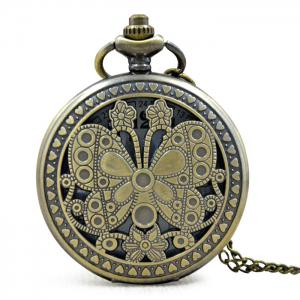 Butterfly Engraved Vintage Quartz Pocket Watch