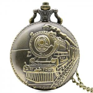 Steam Train Carved Number Vintage Pocket Watch