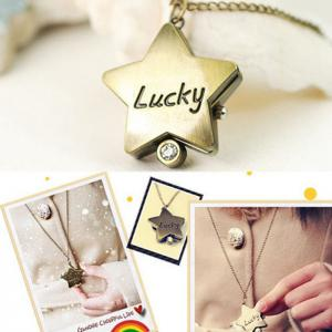 Lucky Star Vintage Analog Pocket Watch - GOLDEN