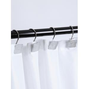 12 Pcs Shimmer Square Resin Shower Curtain Hooks - WHITE