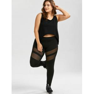 Plus Size Mesh Panel Sport Leggings - Noir 2XL