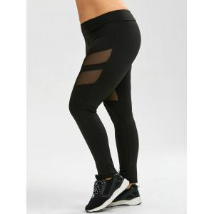 Plus Size Mesh Panel Sport Leggings - Black - 4xl