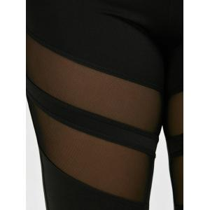 Plus Size Mesh Panel Sport Leggings - BLACK 4XL