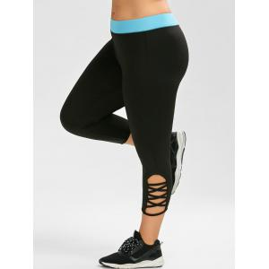 Active Plus Size Criss Cross Capri Leggings - Black - 3xl