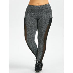Mesh Insert Plus Size Workout Leggings With Pockets - GRAY 3XL