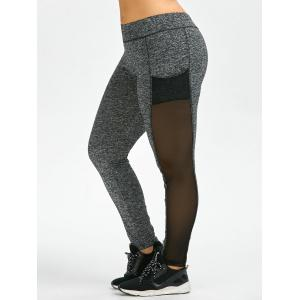 Mesh Insert Plus Size Workout Leggings With Pockets - Gray - Xl