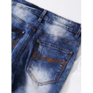 Ripped Button Fly Bleached Jeans -