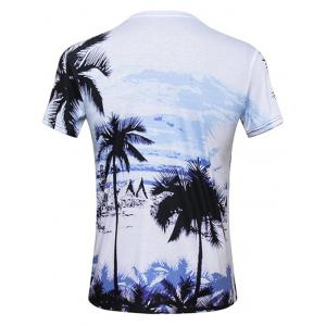 Tropical Printed Round Neck Hawaiian T-shirt - COLORMIX XL