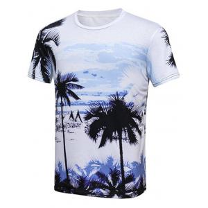 Tropical Printed Round Neck Hawaiian T-shirt - Colormix - 3xl