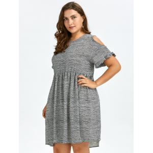 Plus Size Cold Shoulder Stripe Casual Dress - BLACK WHITE ONE SIZE