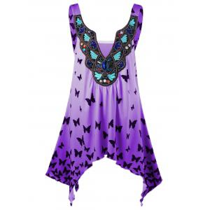 Plus Size Ombre Butterfly Asymmetric Tank Top - Purple - 3xl