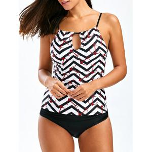 Anchor Print Keyhole Backless Tankini Swimsuits - Black - Xl