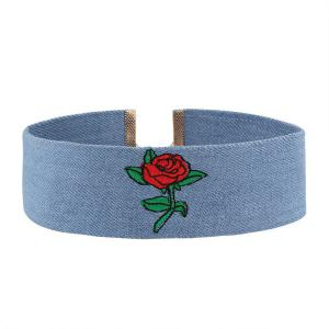 Embroidery Rose Flower Denim Choker Necklace - Blue