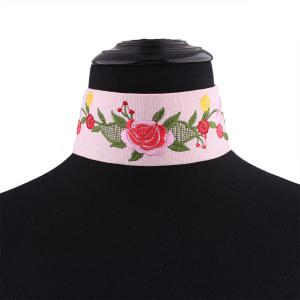 Embroidery Flower Choker Necklace - PINK
