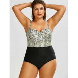 Plus Size Leopard One Piece Swimsuit - BLACK LEOPARD PRINT 2XL