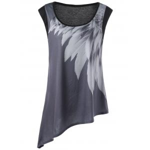 Graphic Asymmetric Plus Size Tank Top - Black And Grey - Xl