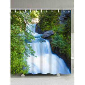 Waterfall Landscape Shower Curtain with Hooks Rings - Green - W71 Inch*l79 Inch