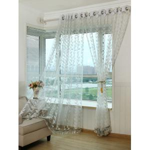 Grommet Top Leaf Rattan Window Tulle Curtain -