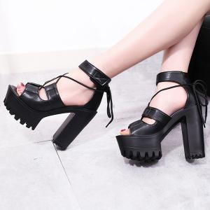 Platform Block Heel Tie Up Sandals - BLACK 37