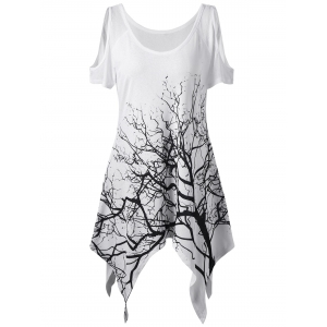 Life Tree Printed Asymmetric Cold Shoulder T-Shirt