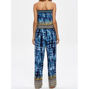 Tie Dye Strapless Jumpsuit with Pockets - BLUE 2XL