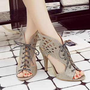 Lace Up Wings Slippers - GOLDEN 39