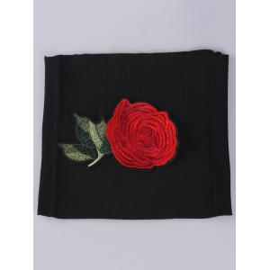 Chinoiserie Flower Embroidered Extra Wide Corset Belt - BLACK