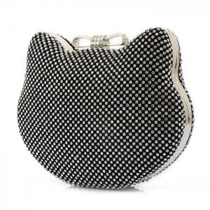 Rhinestone Cat Head Shaped Evening Bag -