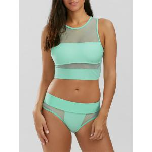 Mesh Panel Padded Tankini Swimsuits