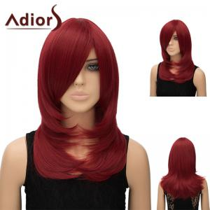 Adiors Inclined Bang Long Tail Adduction Straight Cosplay Anime Wig - Wine Red
