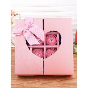 1 Box 16 Grids Bowknot Artificial Soap Roses Mother's Day Gift - PINK