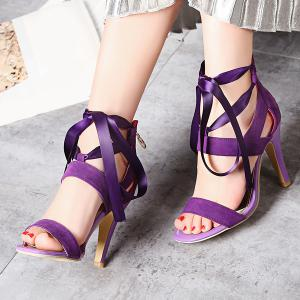 Suede Ribbon Zipper Sandals -