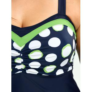 Plus Size Polka Dot One-Piece Swimsuit - PURPLISH BLUE 5XL