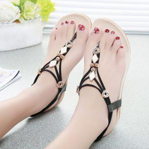 Elastic Band Metal Flat Heel Sandals -