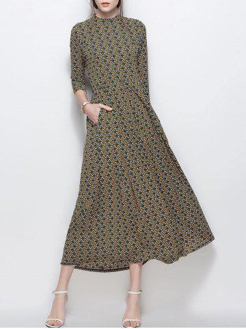 A Line Printed Chiffon Maxi Dress with Pockets - Yellow - M